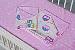 """Комплект постельное белье в кроватку ребенку  двухцветное """"Розовые совы """", фото 3"""