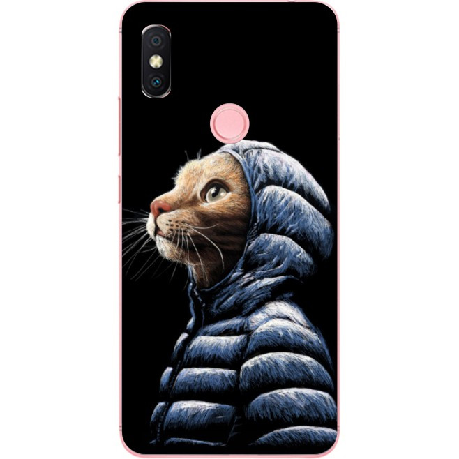 Силиконовый бампер для Huawei P Smart 2019 с рисунком Кот в куртке