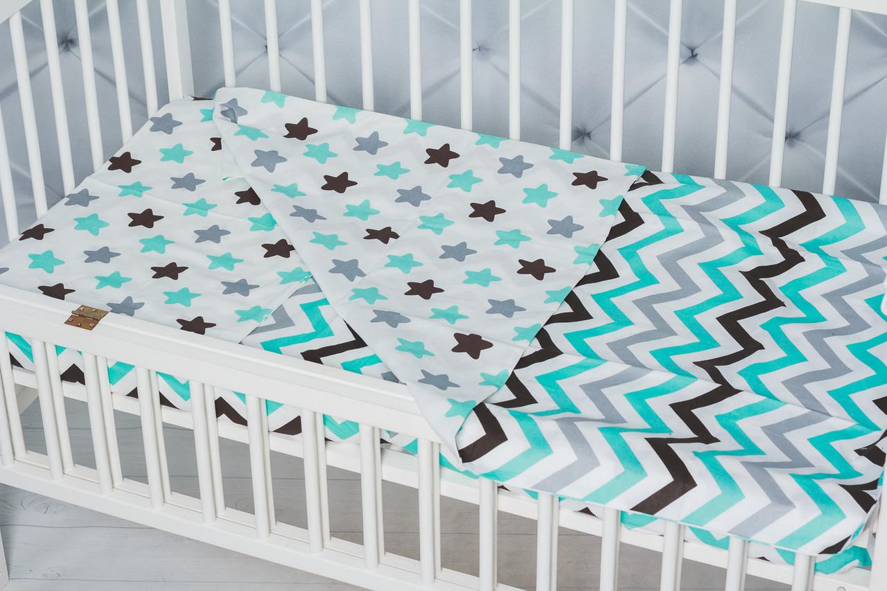 """Детское постельное белье в кроватку малыша двухцветное  """"Пряники с зиг-загом"""""""