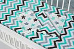 """Детское постельное белье в кроватку малыша двухцветное  """"Пряники с зиг-загом"""", фото 2"""