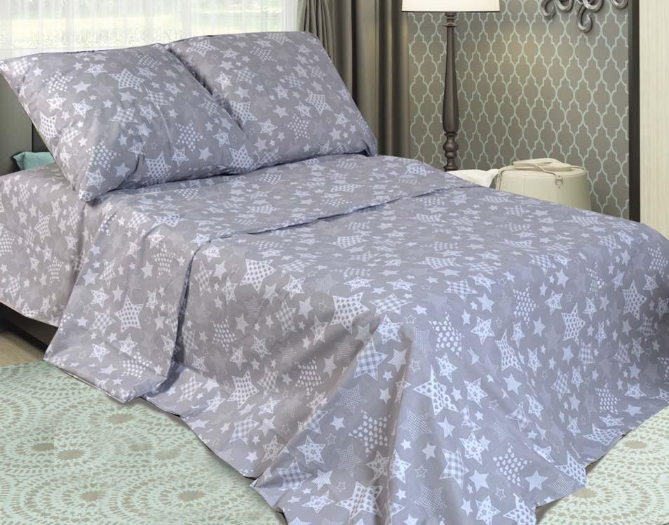 Комплект постельного белья евро Звёзды на сером