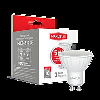 Лампа светодиодная MAXUS 5W MR16 GU10 теплый белый