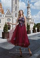 Вечернее нарядное праздничное платье миди с открытой спинкой