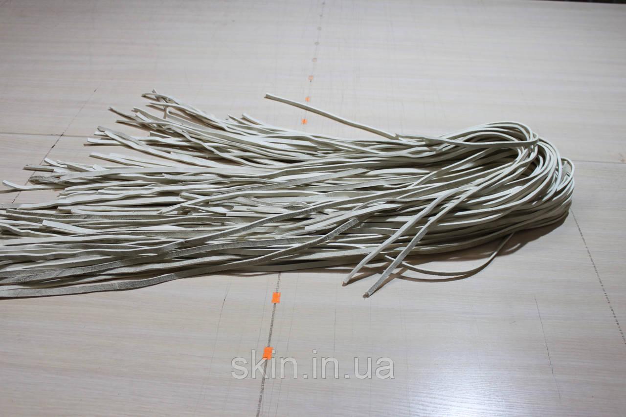 Полосы сыромятной кожи (ушивальник) ширина 8 мм, толщина 3.0 мм, белого цвета, арт. СКУ 9002.1683