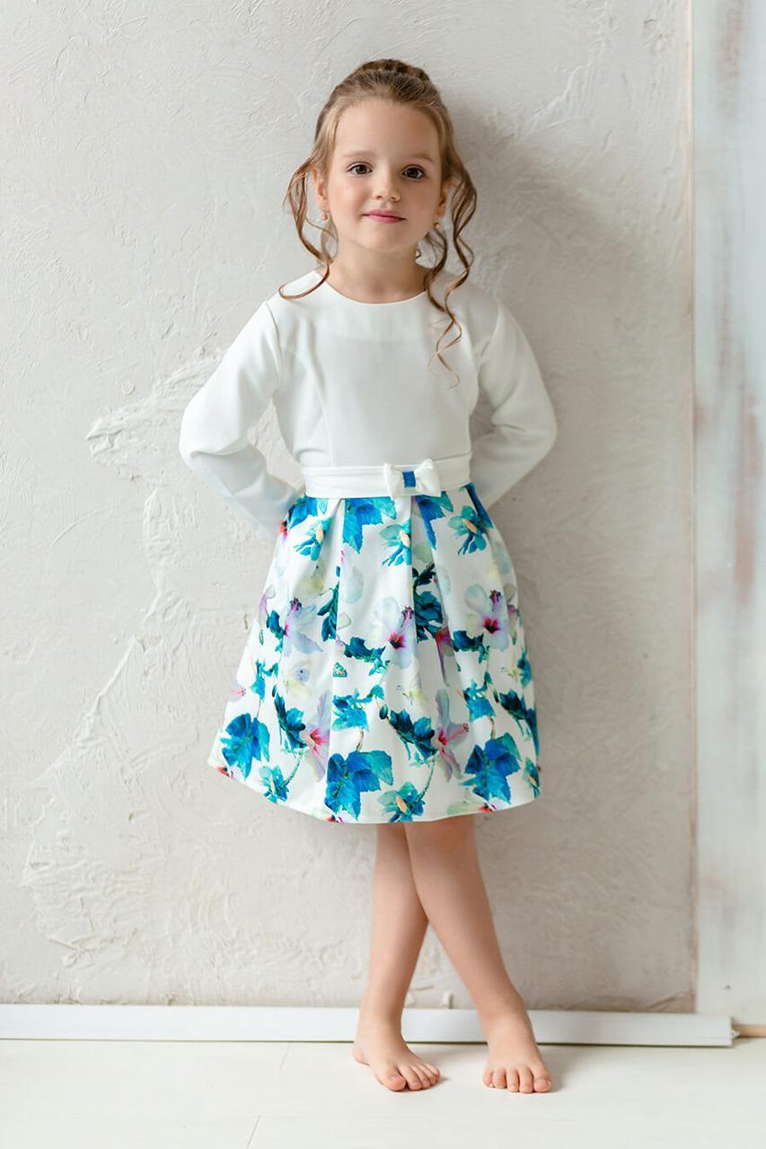 Платье для девочки на любой день с цветочным принтом