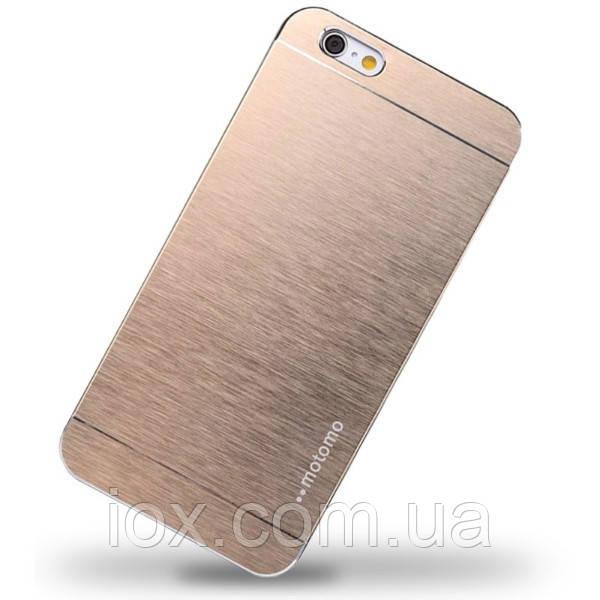 Металлический золотой чехол Motomo для Iphone 6 plus