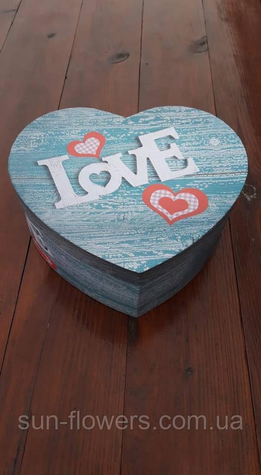 Коробка картонная в форме сердца(джинс)