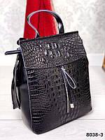 Шикарный кожаный рюкзак- трансформер с теснением кожи оптом есть розница