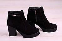 Женские ботинки из замши на устойчивом каблуке, фото 1