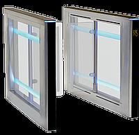 Турникет SWEEPER S-1 (правая + левая стойки), крашеная сталь (RAL 9005/на выбор), столешницы - черное стекло, фото 1