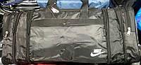 Дорожная черная спортивная сумка Трансформер из плащевки (регулировка размера по бокам) 60*30 см