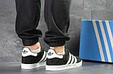 Кроссовки в стиле Adidas Gazelle, натуральная замша, черные с белым, фото 2