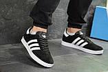 Кроссовки в стиле Adidas Gazelle, натуральная замша, черные с белым, фото 3