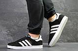 Кроссовки в стиле Adidas Gazelle, натуральная замша, черные с белым, фото 4