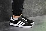 Кроссовки в стиле Adidas Gazelle, натуральная замша, черные с белым, фото 5