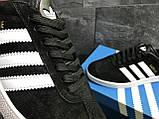 Кроссовки в стиле Adidas Gazelle, натуральная замша, черные с белым, фото 6