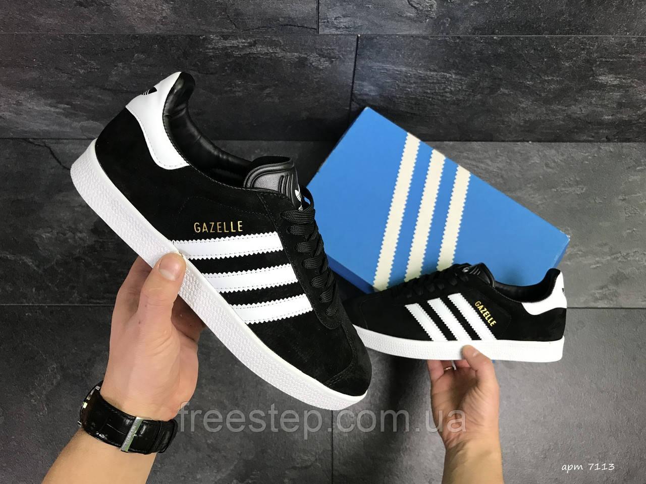 Кроссовки в стиле Adidas Gazelle, натуральная замша, черные с белым