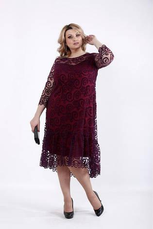 Нарядное женское трикотажное платье с сеткой флок размеры:42-74, фото 2