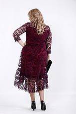 Нарядное женское трикотажное платье с сеткой флок размеры:42-74, фото 3