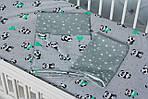 """Модное детское постельное белье в кроватку двухцветное """"Панды"""", фото 3"""