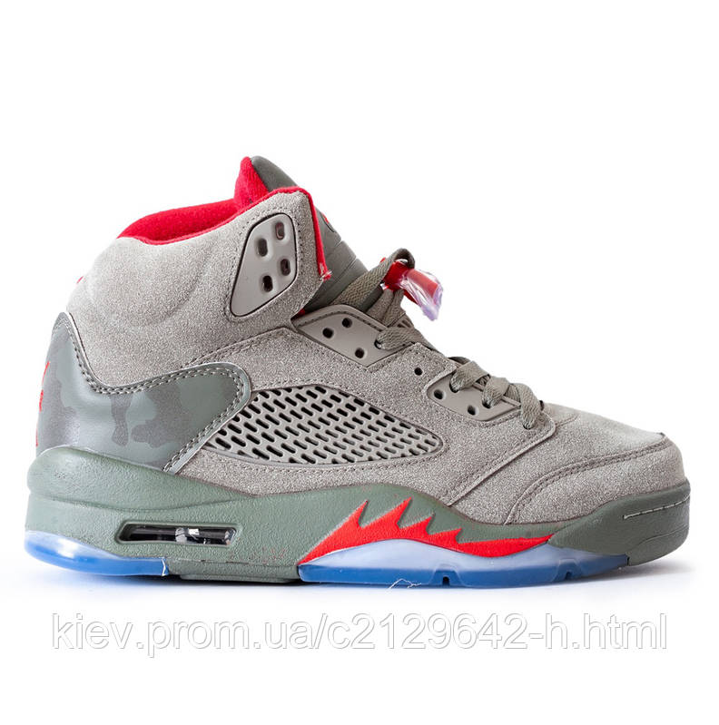 Кроссовки Nike Air Jordan 5 Grey мужские серые 37398e15d319a