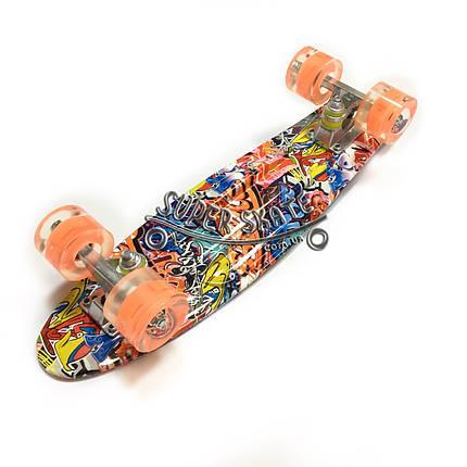Скейт Пенни борд Penny Board Print Led 22 Graffiti - Граффити 54 см, фото 2