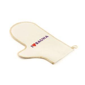 Рукавичка для сауны (светло-серый войлок) с вышивкой