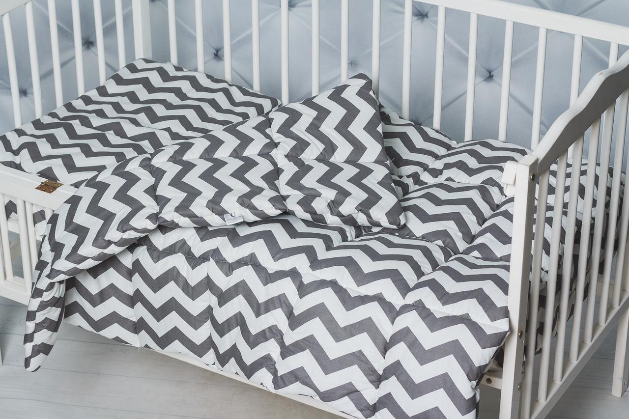 """Комплект для малышей  одеяло+подушка принт """"Зиг-заг"""""""