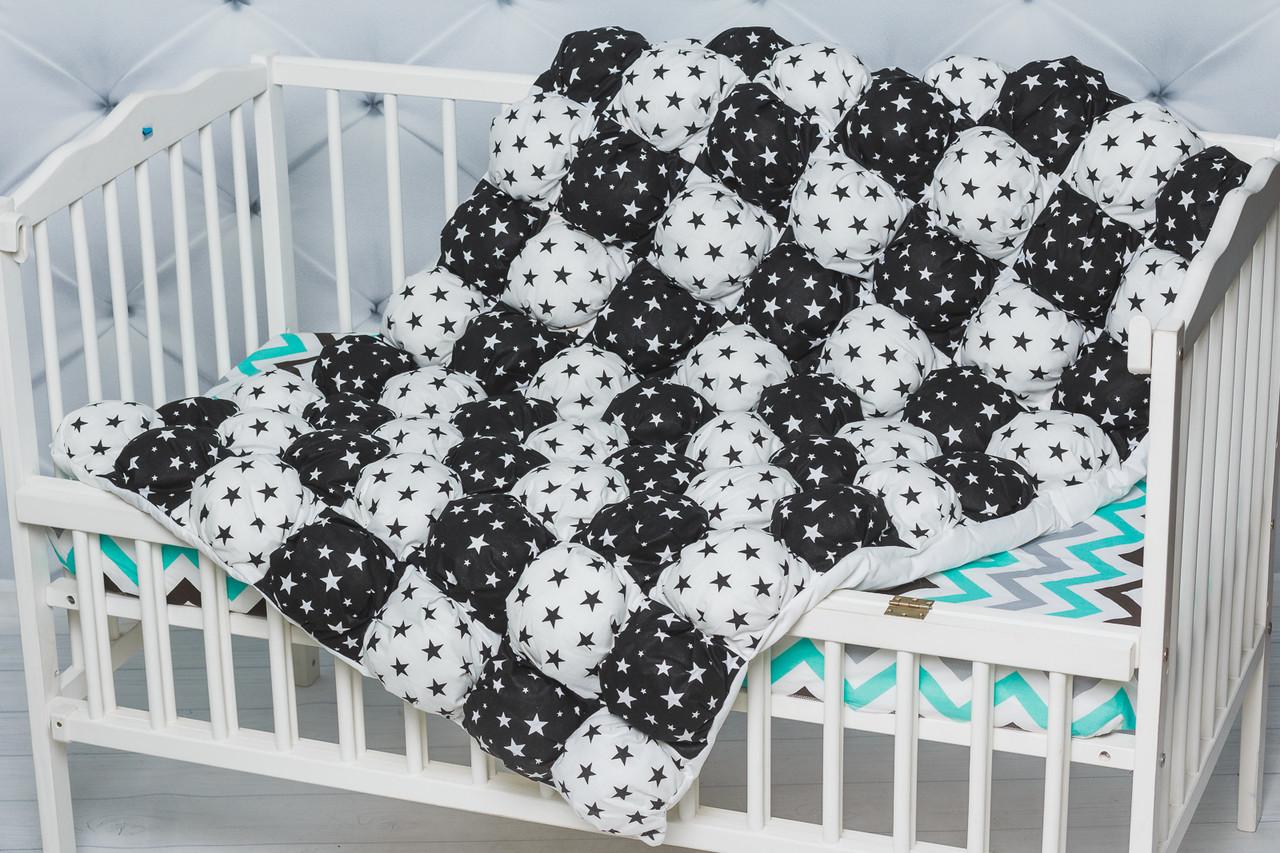 """Детское воздушное одеяло-коврик Бом-бон с принтом """"Звезды черно-белые"""""""