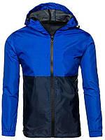 Ветровка мужская / куртка весенняя летняя / черный + синий