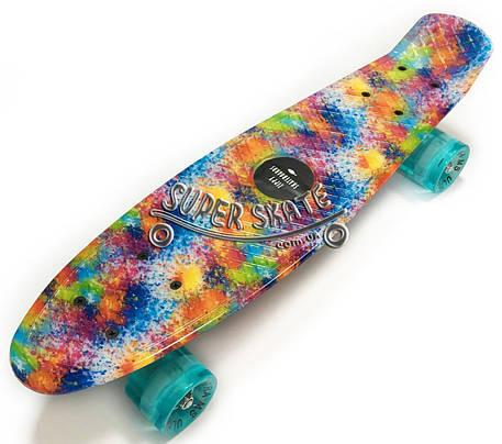 Скейт Пенни борд Penny Board Ultra Led 22 Paint - Пенні борд Краски 54 см, фото 2