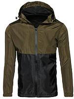 Ветровка мужская / куртка весенняя летняя / черный + хаки