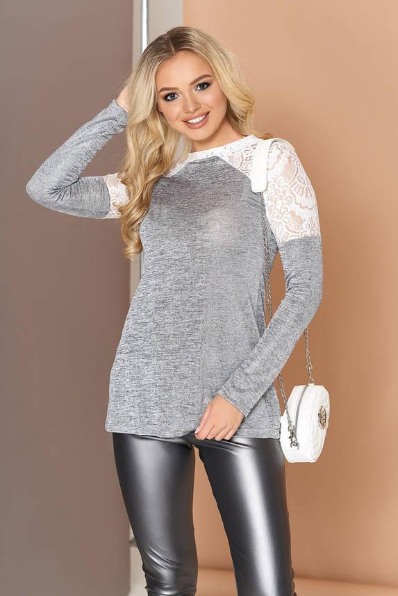 Красивая трикотажная кофточка-блузка с гипюром, фото 2