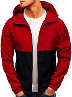 Ветровка мужская / куртка весенняя летняя / черный + красный
