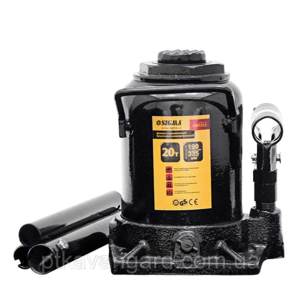 Домкрат гидравлический бутылочный низкопрофильный 20т H 190-335мм Sigma (6101211)