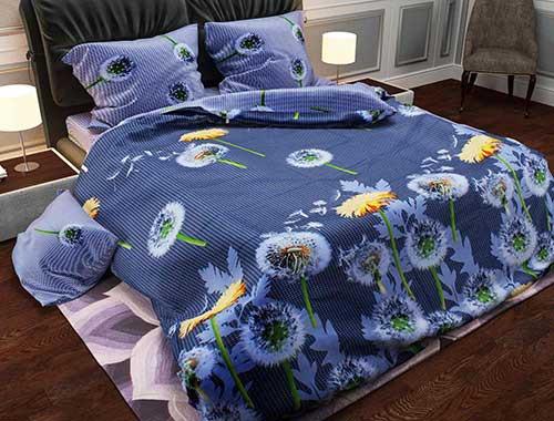 Комплект постельного белья евро Одуванчики синие