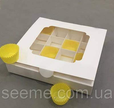 Коробка подарункова з віконцем для 16 цукерок 185х185х30 мм.