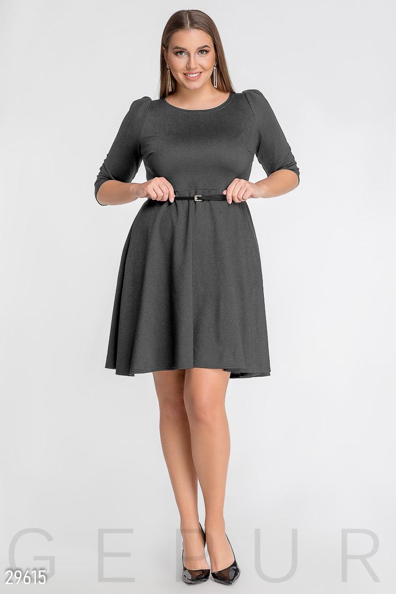 Платье А-силуета серого цвета большого размера