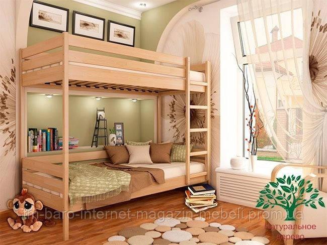 """Двухъярусная кровать """"Дуэт"""" из щита бука 90*200, Эстелла (Украина)"""