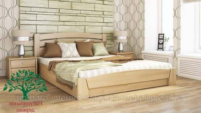 """Кровать двуспальная с подъёмным механизмом """"Селена Аури"""" из щита бука 160*200, Эстелла (Украина)"""