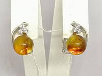 Серебряные серьги с янтарем и фианитами. Артикул СВ905НС, фото 1