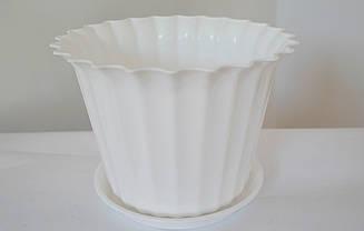 Цветочный горшок Астра с подставкой Белый  Ø23 см в диаметре объёмом 2,2 литра.