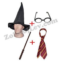 Шапка Гарри Поттера, палочка, очки, галстук набор