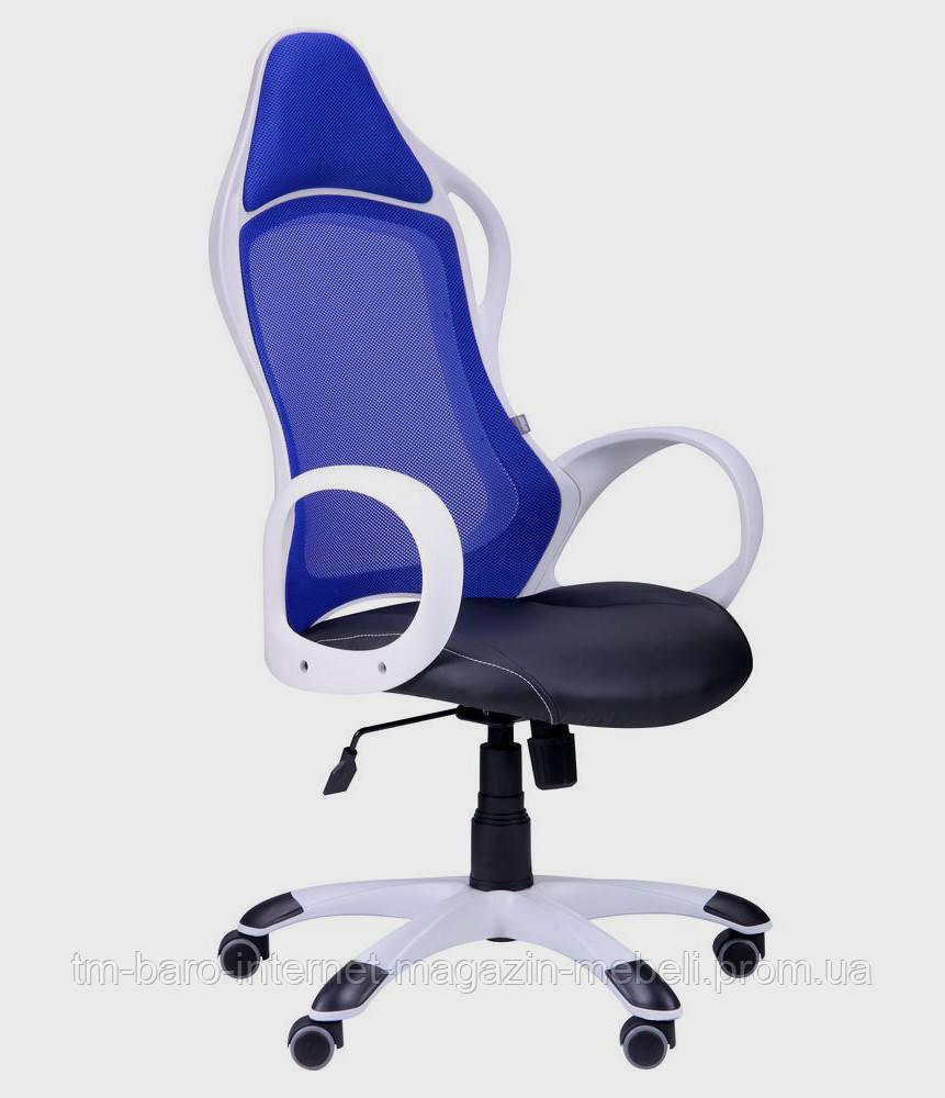 Кресло Nitro белый, сиденье Неаполь N-20/спинка Сетка синяя, Бесплатная доставка