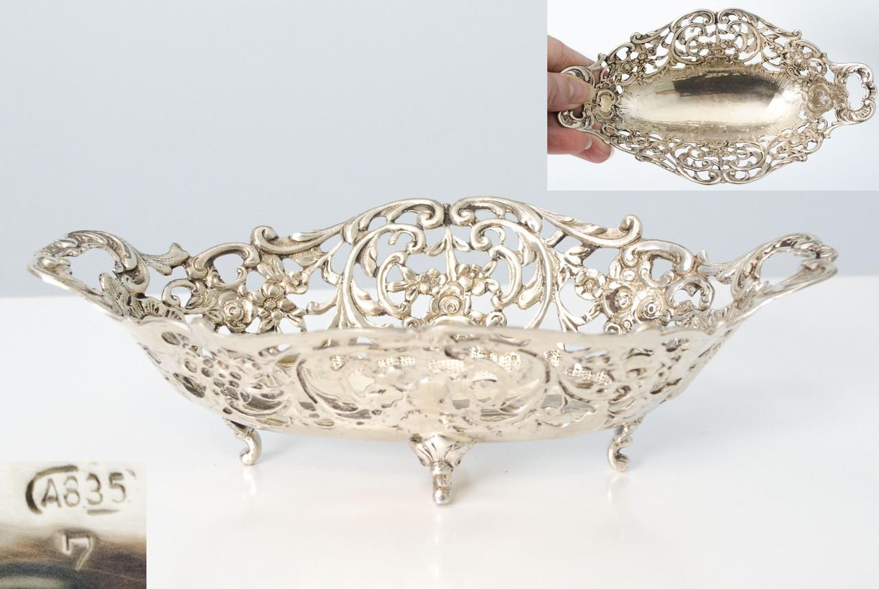 Ваза из серебра, серебряная ладья, столовое серебро, Швеция, 835 проба
