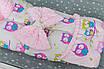 """Конверт-трансформер с плюшем Минки для младенца утепленный  """"Розовые совушки"""", фото 5"""
