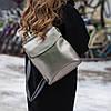 Кожаный рюкзак трансформер женский кожа натуральная, серебро