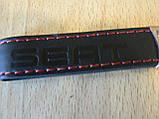 Брелок хлястик Seat 117мм черный логотип красный эмблема Сеат автомобильный на авто ключи коже заменитель, фото 2