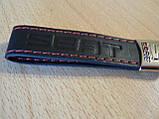 Брелок хлястик Seat 117мм черный логотип красный эмблема Сеат автомобильный на авто ключи коже заменитель, фото 5