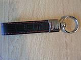 Брелок хлястик Seat 117мм черный логотип красный эмблема Сеат автомобильный на авто ключи коже заменитель, фото 6